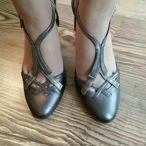 Metallic silver and copper/rose gold Prada Heels